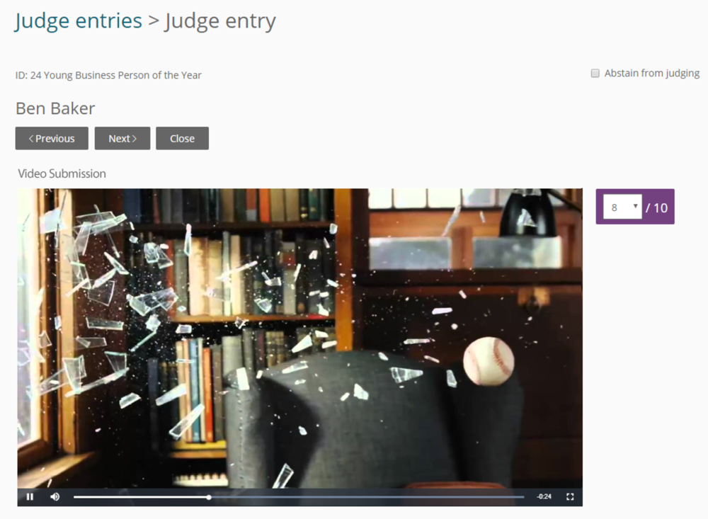 Judge entry in Award Force