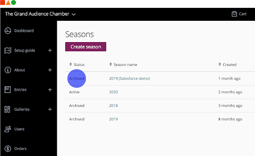 Easily access previous year's data with season archive