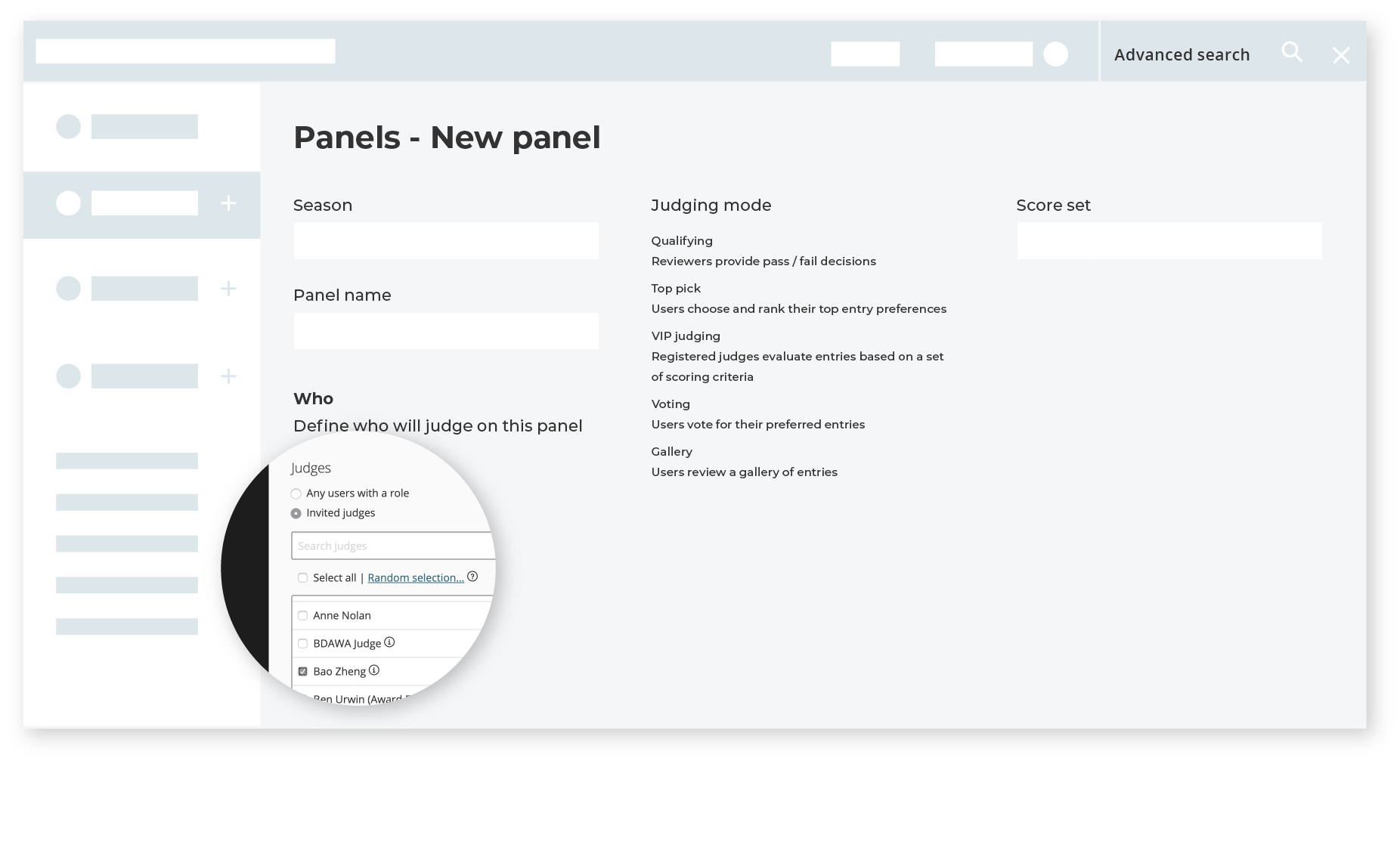 Use judging panels to easily manage judges